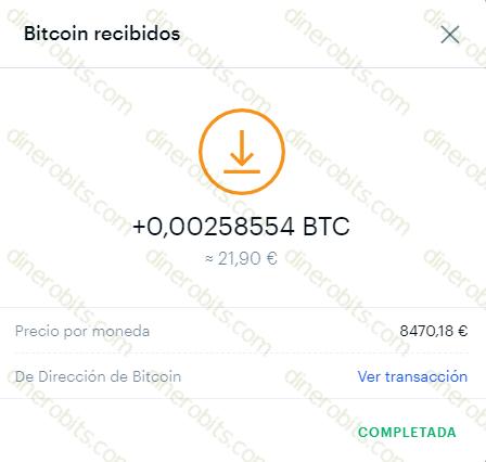 Pago recibido de Bitcoin