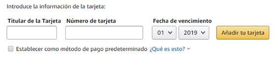 Añadir tarjeta en Amazon