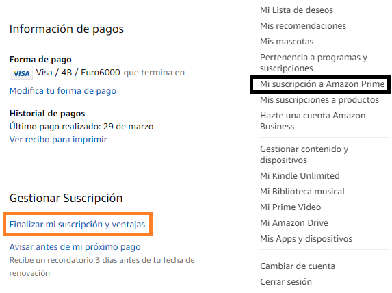 Cancelar suscripción Amazon Prime