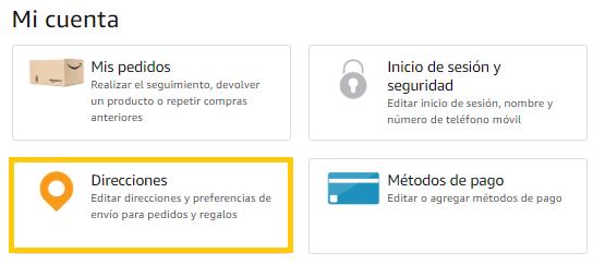 Añadir direcciones en Amazon