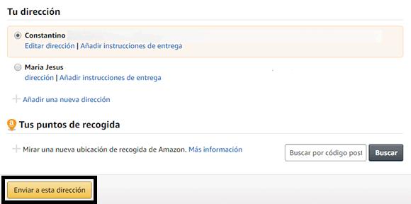 Dirección de envío pedidos Amazon