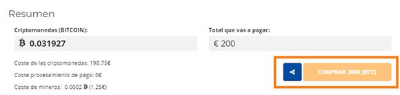 Terminar compra en Bit2me