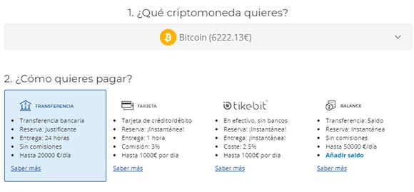 Métodos de pago en Bit2me