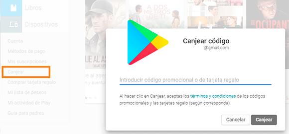 Como canjear tarjetas Google Play