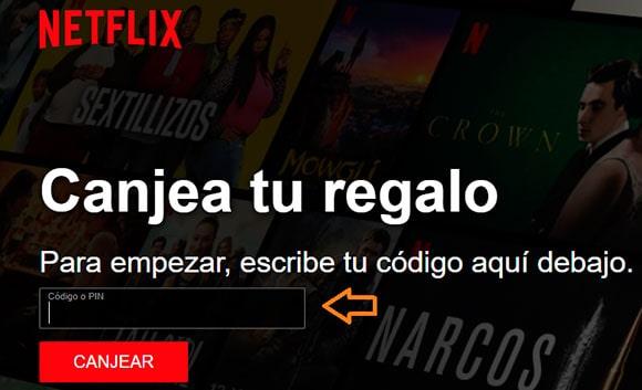 Canjear códigos de Netflix