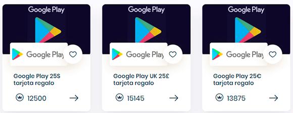 Tipos de tarjetas de Google Play