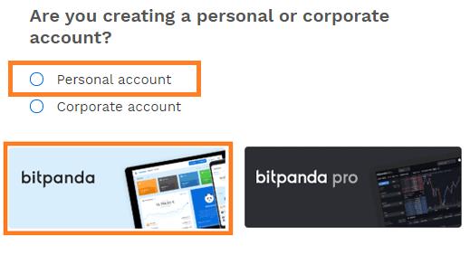 Cuenta personal en Bitpanda