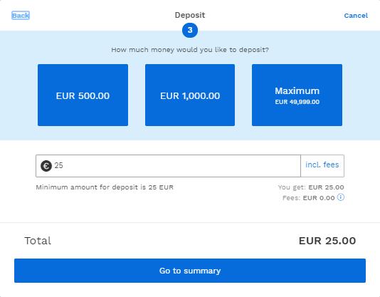 Depósito de 25 euros