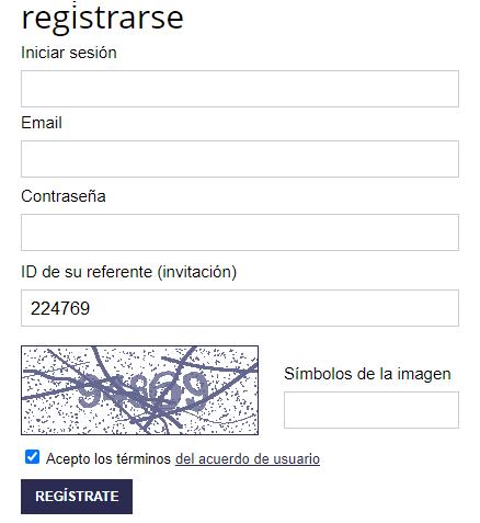 Formulario de registro en visit-box.net