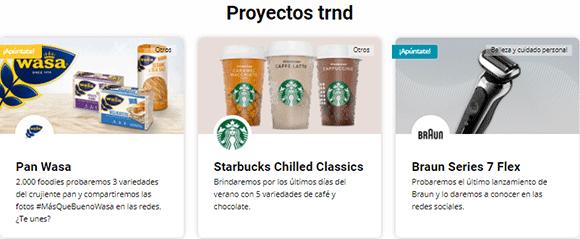 Proyectos Trnd productos de prueba