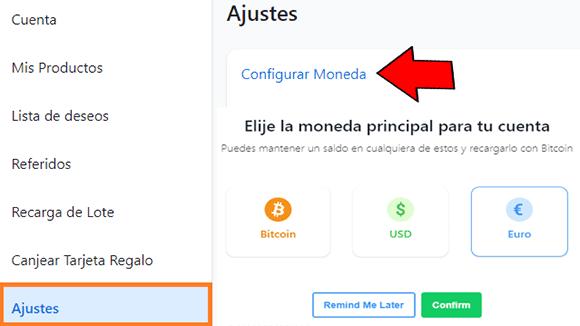 Cuenta Bitrefill en euros o dolares