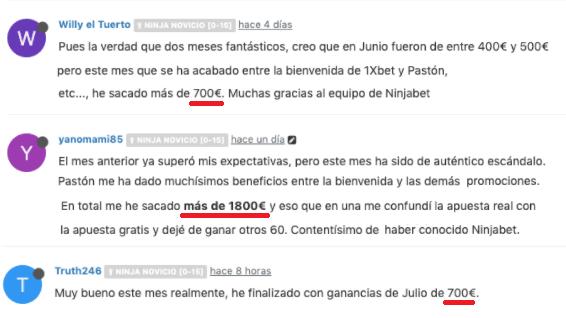Ganancias usuarios de Ninjabet.es