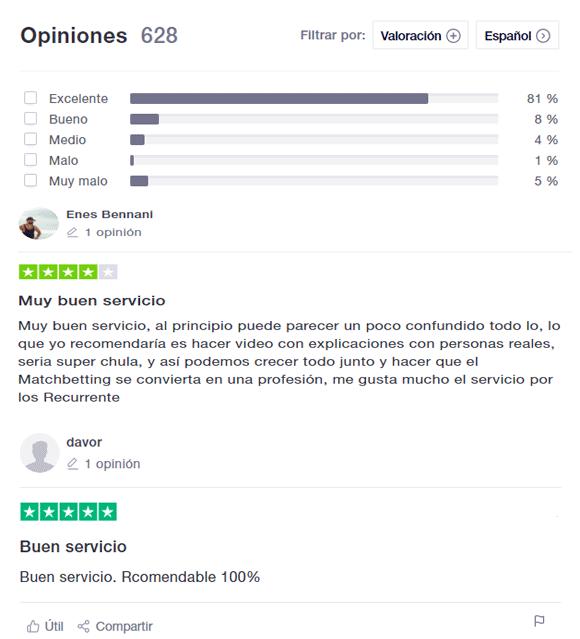 Opiniones usuarios