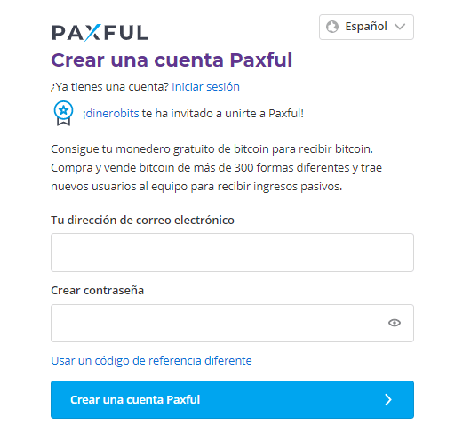 Crear cuenta en Paxful