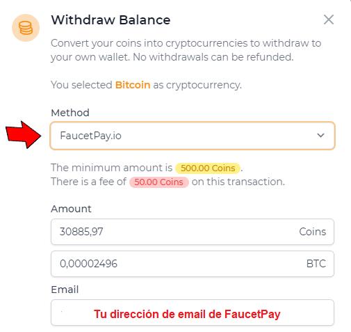 Recibir pagos en FaucetPay