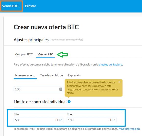 Vender bitcoin en Hodl Hodl