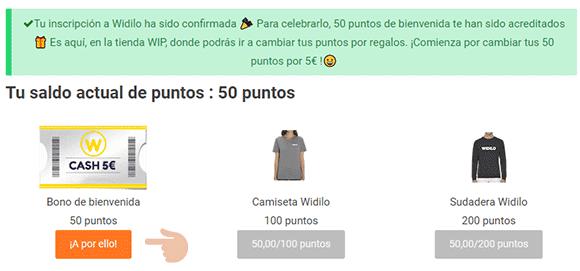Bono de 5€ de Widilo
