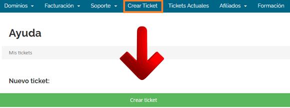 Crear ticket en Webempresa